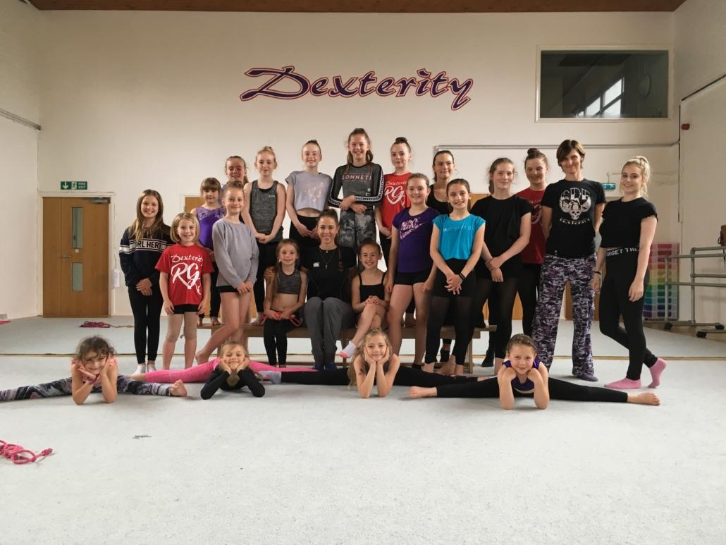 Rhythmic gymnasts with Frankie Jones